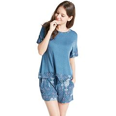 Women's INK+IVY Pajamas: Bohemian Nights Short Sleeve Tee & Shorts PJ Set