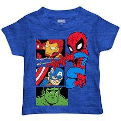 Toddler Boy Marvel The Avengers Iron Man, Captain America, Spider-Man & The Hulk Graphic Tee