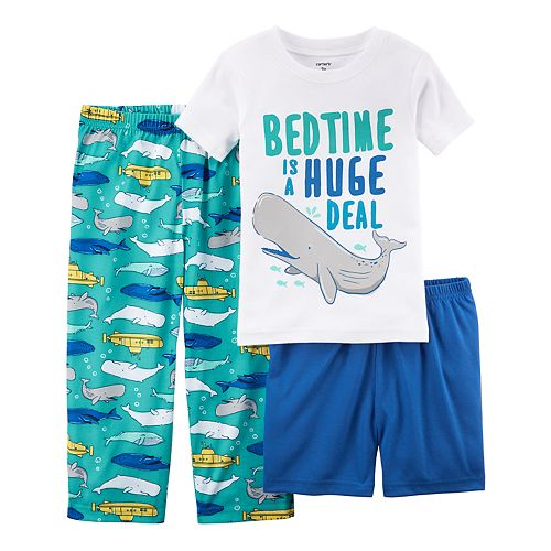 "Baby Boy Carter's 3-pc. Whale ""Bedtime Is A Huge Deal"" Pajama Set"