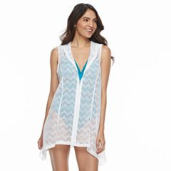 Women's Beach Scene Hooded Crochet Cover-Up