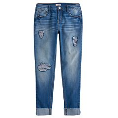 Girls 7-16 & Plus Size SO® Sequin Destruction Girlfriend Jeans