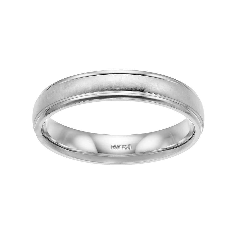 Men's 14k White Gold Brushed Wedding Band