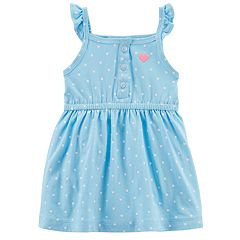 Baby Girl Carter's Polka-Dot Blue Knit Dress