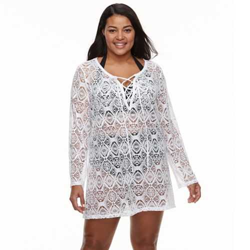 Plus Size Beach Scene Crochet Lace Up Cover Up