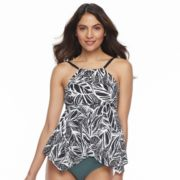 Women's Beach Scene Tummy Slimmer High-Neck Tankini Top
