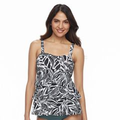 Women's Beach Scene Tummy Slimmer Tiered Tankini Top