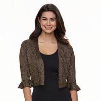 Women's Nina Leonard Bell Sleeved Lurex Bolero