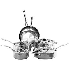 Oneida 10 pc Tri-Ply Hammered Stainless Steel Cookware Set