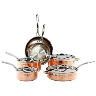 Oneida 10-pc. Tri-Ply Hammered Copper Cookware Set