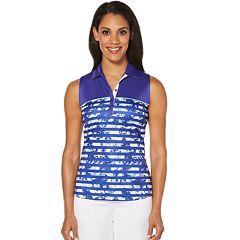 Women's Grand Slam Floral Stripe Print Sleeveless Golf Top
