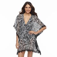 Women's Beach Scene Leaf Caftan Cover-Up