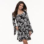 Women's Nina Leonard Floral Bell Sleeve A-Line Dress