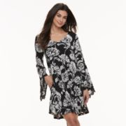 Women's Nina Leonard Floral Bell Sleeve A-Line Dress