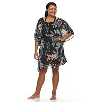 Plus Size Beach Scene Printed Caftan Cover-Up