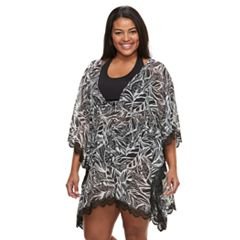 Plus Size Beach Scene Leaf Caftan Cover-Up