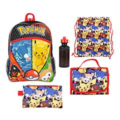 Kids Pokemon Backpack, Lunch Bag, Pencil Case, Water Bottle & Sling Bag Set