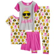 "Girls 4-10 Emoji ""So Awesome"" Tops & Bottoms Pajama Set"