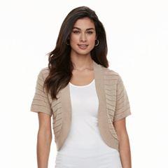 Women's Nina Leonard Textured-Stripe Bolero