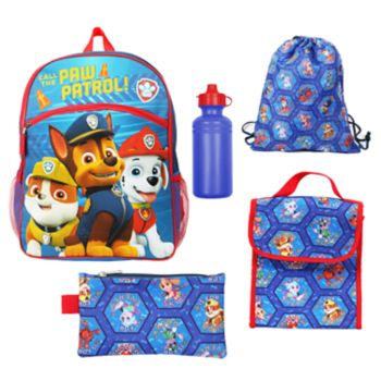 Kids Paw Patrol Chase, Marshall & Rubble Backpack, Lunch Bag, Pencil Case, Water Bottle & Sling Bag Set