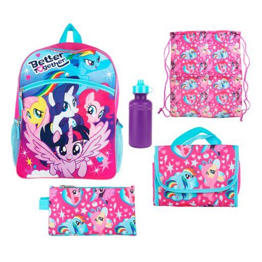Kids My Little Pony Backpack, Lunch Bag, Pencil Case, Water Bottle & Sling Bag Set