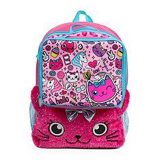 Kids Plush Cat Backpack & Lunch Box Set