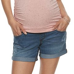 Maternity a:glow Cuffed Full Belly Panel Jean Shorts