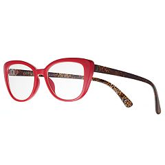 Women's Modera by Foster Grant Camilla Leopard Oversized Cat-Eye Reading Glasses