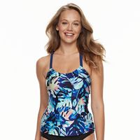 Women's N Printed Shirred Bust Minimizer Tankini