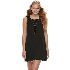 Juniors' Lily Rose Scallop Shift Dress & Necklace Set