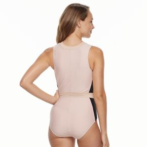 Women's N Zip Front Tummy Slimmer One-Piece Swimsuit