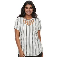 Juniors' Plus Size Candie's® Cut-Out Ladder Neck Top