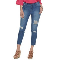 Women's Jennifer Lopez Ripped Crop Super Skinny Jeans