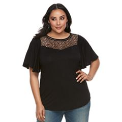 Plus Size Apt. 9® Crochet Flutter Sleeve Top