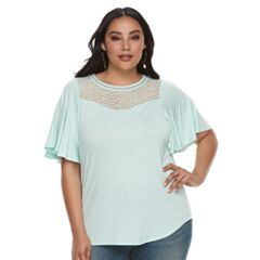 Plus Size Apt. 9® Crochet Flutter Sleeve Top