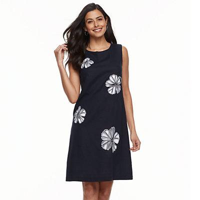 Women's Nina Leonard Floral-Embroidered Sheath Dress