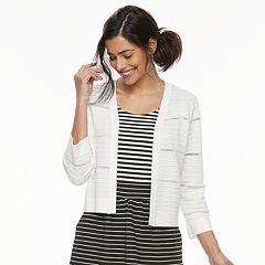 Women's Nina Leonard Texture-Striped Shrug