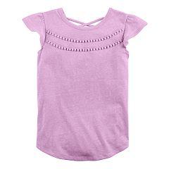 Girls 4-10 Jumping Beans® Pom Pom Flutter Sleeve Tee