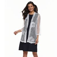 Women's Nina Leonard Sheer Open-Front Cardigan