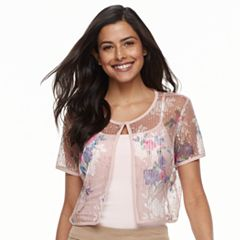 Women's Nina Leonard Floral Mesh Bolero