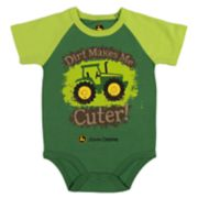 "Baby Boy John Deere ""Dirt Makes Me Cuter"" Tractor Bodysuit"