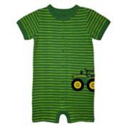 Baby Boy John Deere Tractor Striped Romper