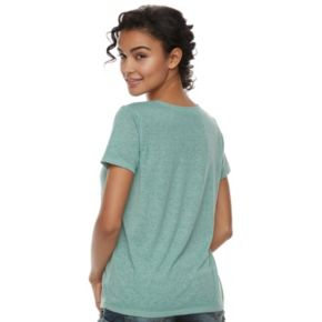 Juniors' Cloud Chaser Lace-Up Short Sleeve Tee