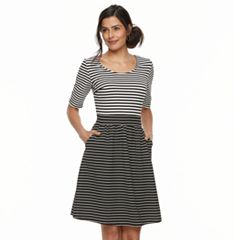 Women's Nina Leonard Striped Fit & Flare Dress