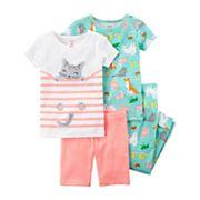 Baby Girl Carter's 4 pc Printed Pajamas Set