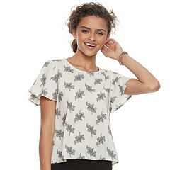 Juniors' Rewind Floral Flutter Top