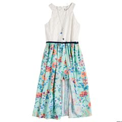 Girls 7-16 Knitworks Belted Floral Walk-Through Dress with Necklace
