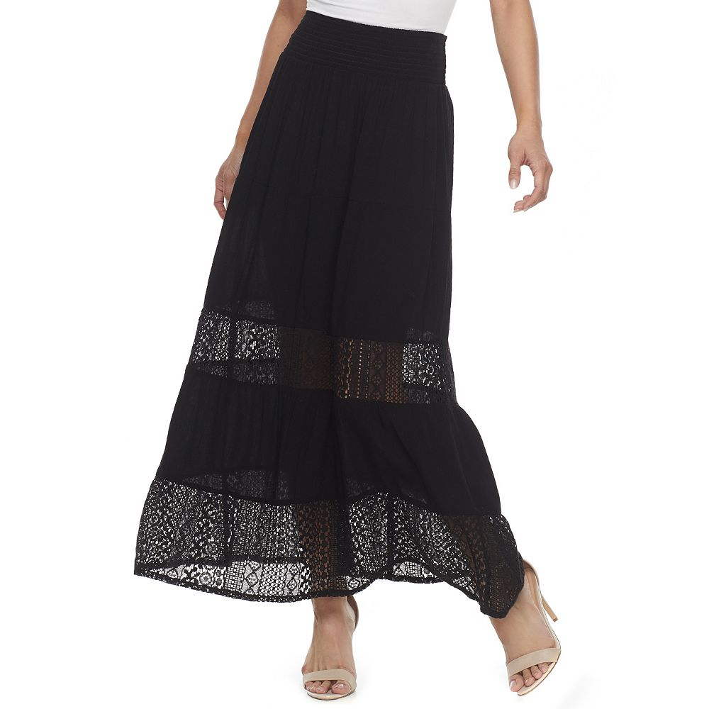 Women's Studio 253 Tiered Lace Inset Maxi Skirt
