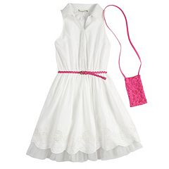 Girls 7-16 Knitworks Belted Shirtdress with Crossbody Purse Set