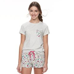 Juniors' Peace, Love & Fashion Graphic Tee & Boxer Shorts Pajama Set