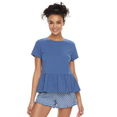 Juniors' Peace, Love & Fashion Peplum Tee & Shorts Pajama Set